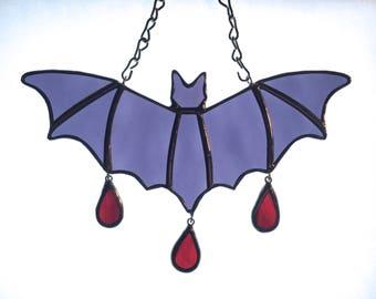 Royal Purple Bat - Stained Glass - Handmade