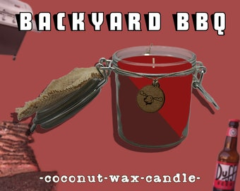 Backyard BBQ - barbecue & beer scented candle, organic coconut wax, all natural hemp wick, gift for dad, man candle, nostalgic themed candle