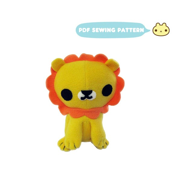 Lion Plush Animal Pattern PlushSewing Pattern PDF Lion Lion