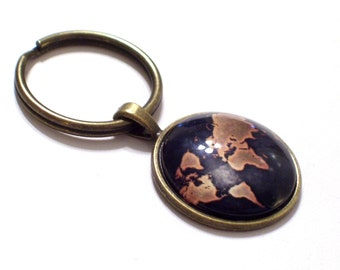 Map Keyring, Globe Keychain, Father's Day Gift, World Map Key Chain, Traveler Keychain, Unisex Map Key Ring, Globe Keyring,  Brass Keychain