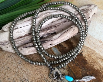 Faceted Pyrite Turquoise Sterling-Layering-Sport necklace-24 inch-Easy wear Gemstone necklace-Isa Stone