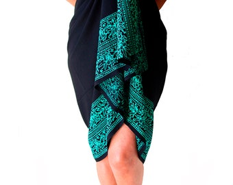 PLUS SIZE Sarong Batik Pareo Beach Sarong Womens Plus Size Clothing - Extra Long Black & Teal Green Sarong Dress or Skirt Plus Size Swimwear
