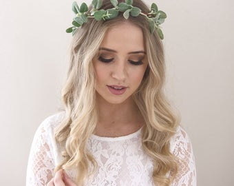 Greenery Crown- Hair Vine- Green Flower Crown- Greenery Halo- Eucalyptus Halo- Wedding Headpiece- Wedding Crown- Green Crown