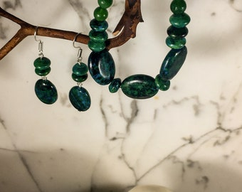 Azurite / Chrysocolla, Emerald & Prehnite Beads .:. Bracelet - Earring - Jewelry Set - One of a Kind - Graduation Gift