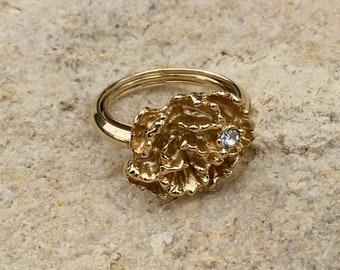 Avon Jewelry - Flowerblaze Ring Goldtone Large Carnation Flower Head with Tiny Rhinestone Dew Drop circa 1976