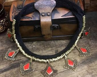 Tribal necklace - Turkmen -  bedouin jewelry. Brass  - Ethnic necklace - gypsy jewelry