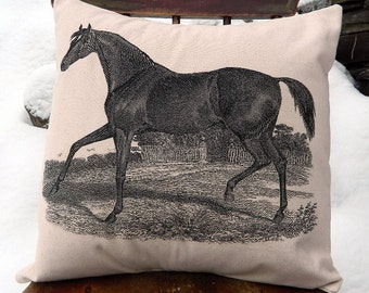"Horse Pillow Handmade Canvas Feed Sack Pillow Cover - Full Size Pillow 16"" x 16"" - Equestrian Pillow Farmhouse Decor"
