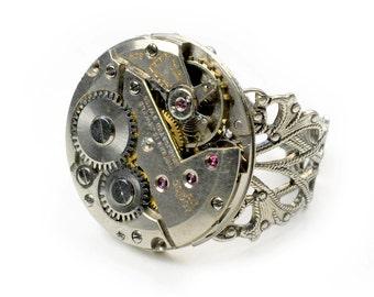 Vintage Zodiac Watch Movement Steampunk Adjustable Ring