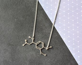 Adrenaline Molecule necklace, silver adrenaline, science jewelry, chemistry necklace, sport jewellery, medical necklace, Christmas gift