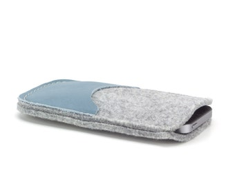 Stylish Phone Case - cell phone cover, mobile case handmade of natural wool felt and leather - grey and blue - cell phone accessorie