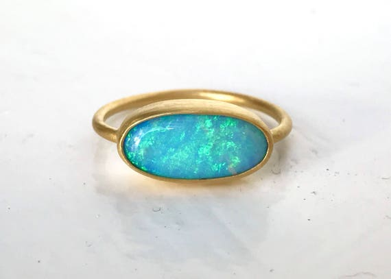 Australian boulder opal and solid 22k gold ring