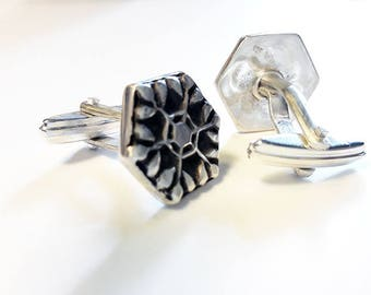 Silver Cufflinks, Father's day Gift, Rosace Cufflinks, Hexagone Cufflinks, Handmade Cufflinks, Oxidized Silver Cufflinks, Wedding Cufflinks