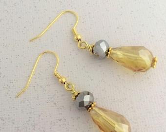 Bridesmaid Yellow Gray Earrings, Gold Yellow Gray Earrings, Drop Yellow Gray Earrings, Crystal Yellow Gray, Gray Yellow Wedding, Gold, Gray