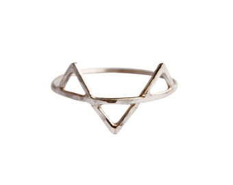 Three Spikes Ring, Thin Silver Ring, Geometric Ring, Triangles Ring, Simple Silver Ring, Three Silver Spikes Ring, Thin Ring, Minimal Ring