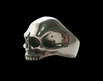 Skull ring - Sterling silver Keith Richards skull ring (Solid inside) 26 grams - All Sizes availables