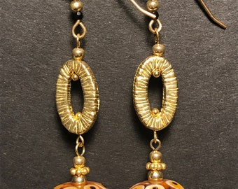 """Bohemian Glass """"Rockwell"""" and Gold-filled Earrings"""