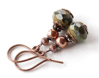 Green dangle earrings - copper & faceted teal picasso Czech glass beads
