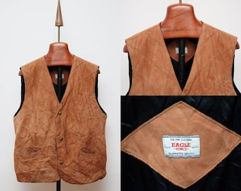 Eagle Mens Leather Waistcoat size L Quilted Brown