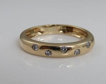 Vintage 10k Gold Diamond Stacking Band Ring.