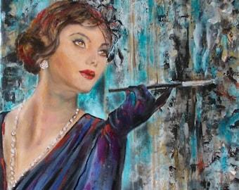 Original retro woman painting,figurative painting,fashion painting,square painting,hat,woman,oil on canvas,portrait,woman portrait,woman art