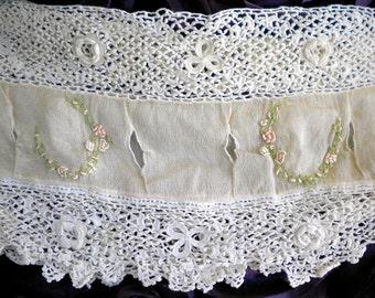 Victorian Irish Crochet French Knot Rosette Dress Panel