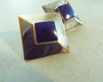 Vintage Lapis Sterling Silver Post Earrings Marked 925