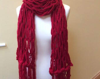 Arm knitted Claret Red long Scarf with fringe
