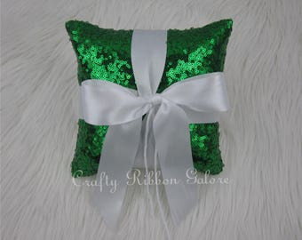 Emerald Glitz Sequins Wedding Ring Bearer Pillow, 8x8 Wedding ring pillow, READY TO SHIP
