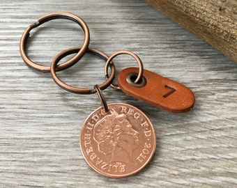 7th anniversary gift, copper wedding anniversary, seven 7 years married, 2011 coin keyring, key chain, present for him, man husband