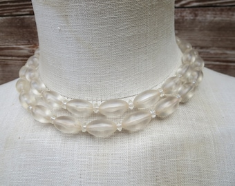 Long Clear Acrylic Bead Necklace - Clear Bead Necklace - Double Strand Choker - Versatile Necklace - Long Necklace
