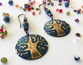 Earrings: Tree of Knowledge with blue green patina, + blue beads + swarovski crystals