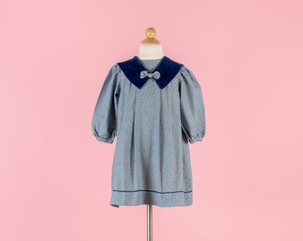Vintage Navy Blue Sailor Collar Dress (Girls Size 5)