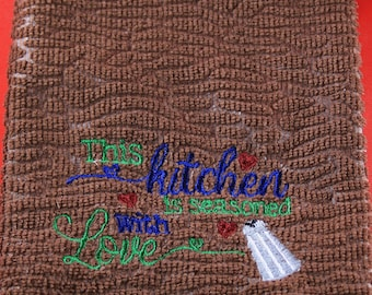 Embroidered Kitchen Dish Towel