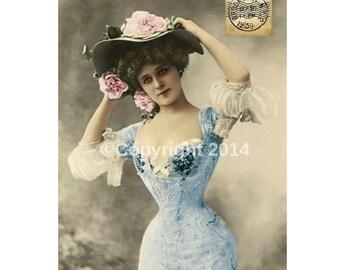 Printable Photo Altered Art Postcard Edwardian Photograph Victorian Lady Bustle Gown Instant Download Ephemera Scrapbook College Paper