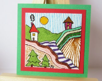 """The Valley Miniature Painting Colored Pencil Watercolor 2"""" wide X 2"""" tall for dollhouse"""