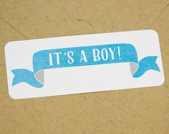 Its a boy stickers - It's a boy stickers - baby shower stickers - gender reveal stickers - blue stickers - it's a boy labels - boy stickers