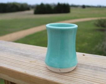 Handmade Turquoise Porcelain Bud Vase Wheel Thrown Pottery