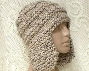 Oatmeal tweed ear flap hat, trapper cap, winter hat, beanie hat, toque, mens womens knit hat, oatmeal hat, ski toboggan hat, hiking hat