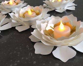 5 Flower LED candle holder/ Wedding Decorations/ centerpiece/ party decor/ wedding favors