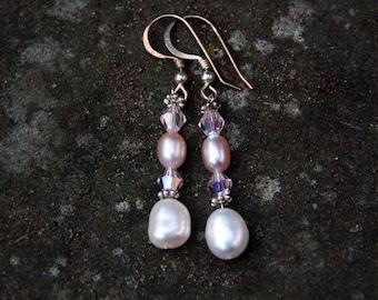 Pink & White Pearl Drop Earrings