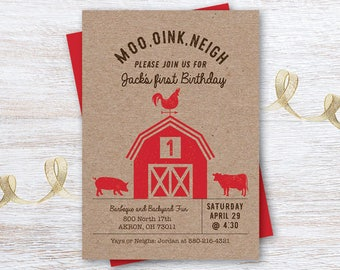 Barnyard, 1st Birthday Invitation, Farm Animals, Pig, Cow, Rooster, Kraft Paper, Red, Made to order, Custom, Personalized, Digital File, JPG