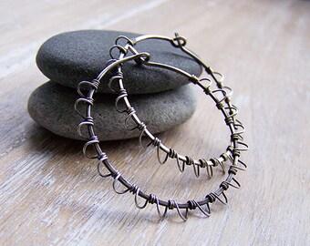 Sterling Silver Hand Forged Laced Hoop Earrings, Wire Wrapped Sterling Silver Earings, Boho Style Hoop Earrings, Dark Hoops