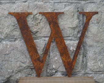 Flat Metal Rusty Letter W / Metal / Letter / Garden / Industrial / Vintage / Rustic / Floral / Gift / Wedding / Home / 25cm
