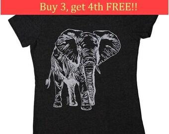 Funny Womens Tees - Regular Fit Tee - Elephant TShirt - Ladies Graphic Tees - Save the Elephants Tshirt -  Charcoal Heather