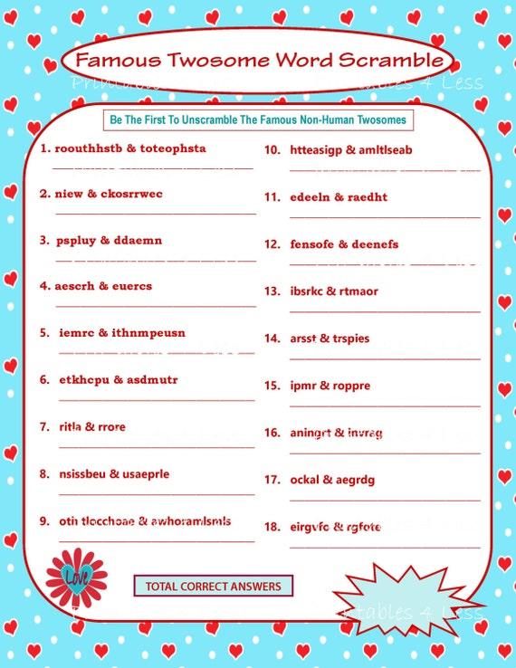 Printable Valentine Game DIY Printable Word Scramble Fun
