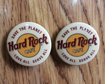 Hard Rock Cafe Pin, Save The Planet - Love All - Serve All, Set of 2