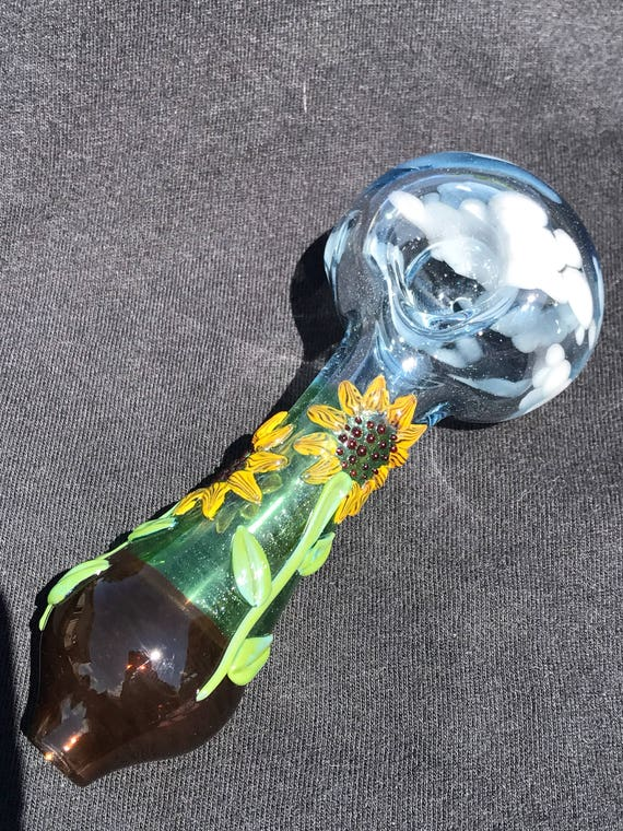 Glass Tobacco Pipe Sunflower Fields Forever