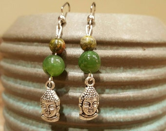 Buddha silver charm green jade unakite stone beads dangle earrings boho new age