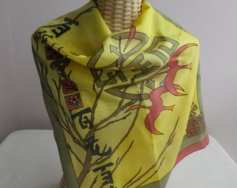hand painted silk zen birds and bamboo scarf