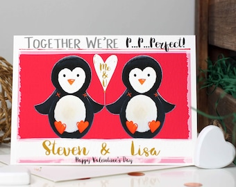 Penguin Couple Valentines Card, Personalised Valentine Day Card for him, her Girlfriend, Boyfriend, Husband, Wife, Couples by Liza J design